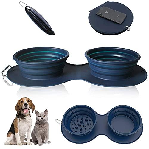 XIKUO Cuenco para perros doble plegable, cuenco para perros portátil de silicona de grado alimenticio sin BPA, plato de taza plegable para comida para gatos y mascotas, cuenco de viaje portátil para