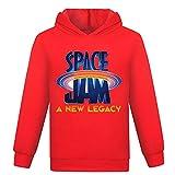 Space Jam Camiseta de Baloncesto para niños Space 2 Movie Cartoon Team Top Hoodie Ropa Deportiva de Manga Larga para niños (1316hong,14-15años)