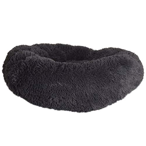Jessicadaphne Fluffy Warm Fleece Hondenmand Soft Dog Kennel Round Pet Donut Grey Diameter 50cm