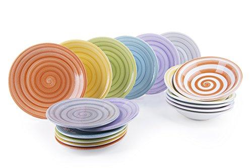 Excelsa Old Italy Servizio Piatti 18 Pezzi, Ceramica, Multicolore