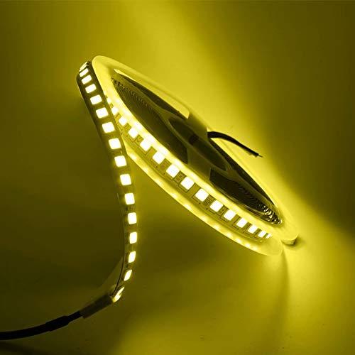 Tira de luces LED 5054 5050 SMD 120led 12V DC impermeable flexible cinta LED para decoración del hogar con cinta adhesiva doble fácil de instalar tira de iluminación (5 metros de luz dorada)