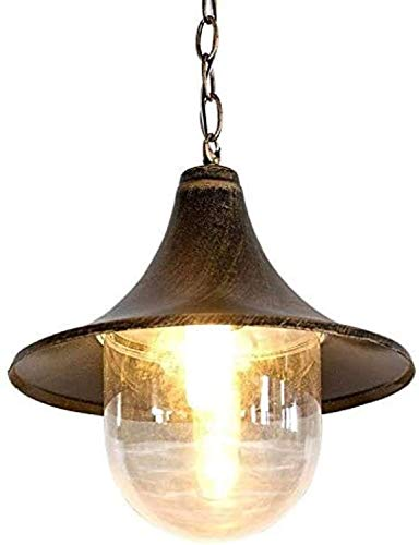 JXJ Candelabro Candelabro Tradición Victoria Lámpara de Techo Externa de Metal de Aluminio Antiguo Europeo Linterna de Vidrio Impermeable al Aire Libre Granero Cuerno Colgante Luz Colgante Dropl