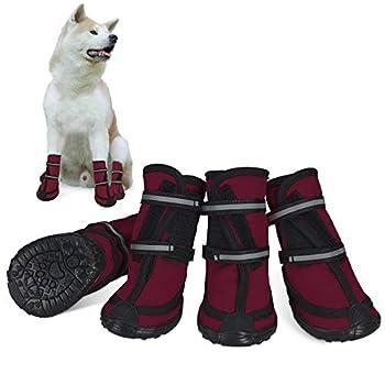 Bottes de protection pour chien Ensemble imperméable, chaussures chien antidérapantes avec boucle adhésive Sangles réfléchissantes Chaussures chiens chaudes résistantes pour les chiens Rouge L