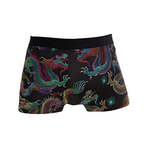 Traditioneller chinesischer Drache Herren-Unterwäsche, Boxershorts, bequem, lässig, täglich, Boxershorts, männlich, sexy Unterhose, Geschenke für Männer Gr. L, Schwarz