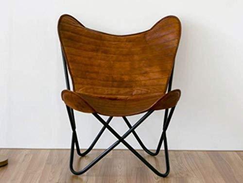 ganpati handicraft Leather Butterfly Chair 001 - Bolsa de Aseo Unisex Adulto Marrón marrón Large