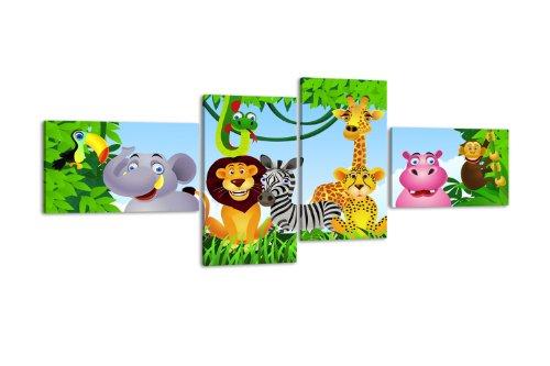 wandmotiv24 Leinwandbild Animal Group LW404 Wandbild, Bild auf Leinwand, 4 Teile, 100x45cm, Kunstdruck Canvas, XXL Bilder, Keilrahmenbild, fertig aufgespannt, Bild, Holzrahmen, Urwald, Tiere, Kinder,