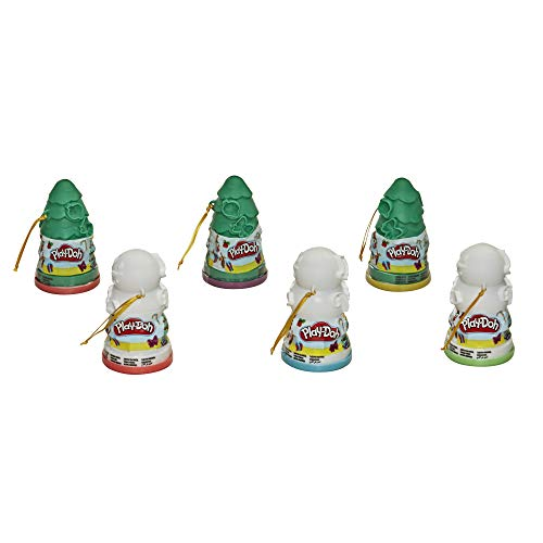 Play-Doh Christmas Tree and Snowman Holiday Toy Ornament 6-Pack Bundle for Kids 2 Years and Up, Assorted Colors (Amazon Exclusive)