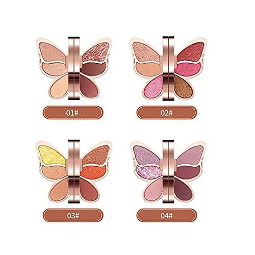 6 Kleuren Oogschaduw Palet Vlinderplaat Professionele Smokey Eye Shadows Naakten Zeer Gepigmenteerde Warme Chocolade Matte Kleuren Shimmer Neutrale Highlight Oogschaduw Make-up Kits Poeder