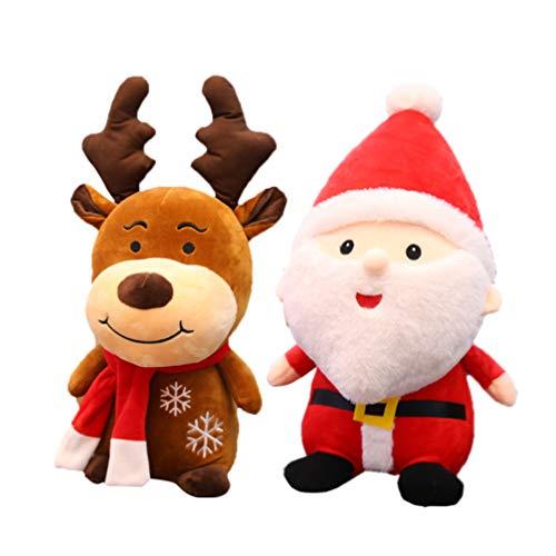 Amosfun 2 Stücke Plüsch Rentier Weihnachtsmann Figur Weihnachten Plüschtier Kissen Elch Kuscheltier Hirsch Stofftier Xmas Tier Dekofigur Weihnachtsfiguren Geschenke für Baby Kinder