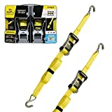 SmartStraps 14-Foot Ratchet Straps (2pk)-5,000 lbs Break Strength-1,667 lbs Safe Work Load Commercial Tie-Downs Designed for Heavy-Duty Cargo Transport-Safely Haul Your Equipment-Flatbed or Trailer