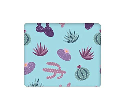 Mauspad Rechteckige Mausmatte Niedliches Mauspad mit rutschfestem Gummi-Basis-Mousepad mit gestickten lila blauen Zimmerpflanzen