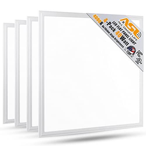 2x2 LED Flat Panel Light, Allsmartlife 2x2FT LED Panel Light Dimmable 4000K Bright White, 0-10V 40W(140W Equivalent) - White Frame, 4147 Lumens, 100-277V - DLC-Qualified and Lighting Facts, 4-Pack