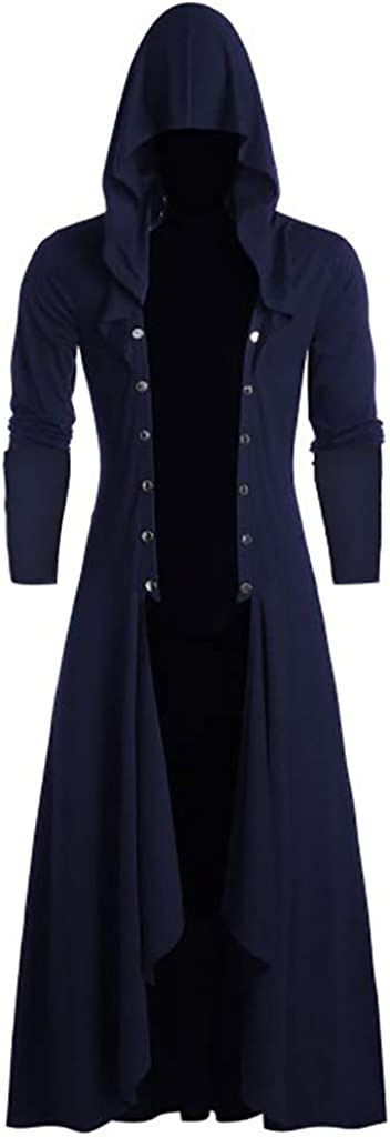 Men's Retro Steam Punk Gothic Cape Jacket Long Sleeve Hooded with Metal Button Long Trench Coat Cardigan