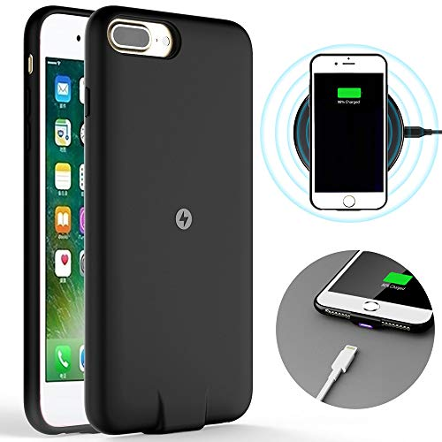 Qi Wireless Charging Reciver Case for iPhone 7/6s/6&Plus(Not Battery),with Cable Charging Port,Soft TPU Shockproof Protective case,Brushed Surface Finish (4.7 inch)
