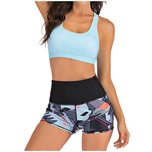 IHEHUA Bikini Damen Sportlicher Bademode Zweiteilige Beachwear Geblümt Badeshorts Einfarbig Strandkleidung mit Gepolsterter Rückenfrei Weste Push Up (A-Blau,40)