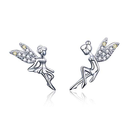 CZ Fairy Stud Earrings for Women Girls S925 Sterling Silver 18K White Gold Plated Asymmtric Two-Tone Cubic Zirconia Crystal Tinkerbell Angle Wings Tiny Stud Hypoallergenic Jewelry Gift for Child