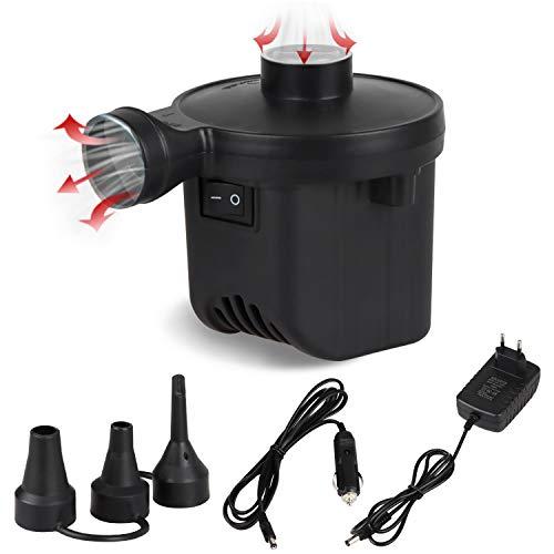 Inflador eléctrico, inflador eléctrico, inflador de cojín, inflador portátil con 3 boquillas, inflador eléctrico 2 en 1, para inflado/desinflado rápido, para colchón de Aire, Piscina, Cama Flotante