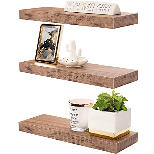 Sorbus Floating Shelf Set — Rustic Wood Hanging Rectangle Wall Shelves — Perfect for Home Décor, Trophy Display, Photo Frames, and More (3-Pack, Mahogany)