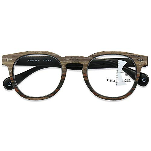 KOOSUFA Gleitsichtbrille Progressive Multifokus Lesebrille Damen Herren Anti-Blaulicht Sehhilfe Lesehilfe Herren Anti Müdigkeit Brille Holzfarbe 1.0 1.5 2.0 2.5 3.0 (1x Schwarz, 1.5)