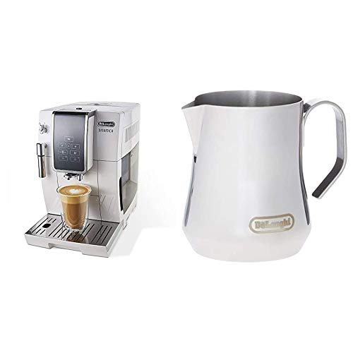 De'Longhi Dinamica Automatic Coffee & Espresso Machine TrueBrew, Burr Grinder + Descaling Solution, Cleaning Brush & Bean Shaped Icecube Tray, White & Milk Frothing Jug, 12 oz, Stainless Steel