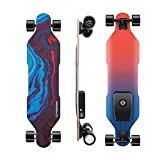 Possway V4 Electric Skateboard with Remote, Top Speed 15 MPH with 10 Miles Range & 220 LBS Max Load, Best Boosted Board for Beginners with Two 350W Hub Motors, Weights only 13 LBS - Ocean Blue