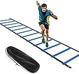 KIKILIVE - Escalera de Agilidad, Escalera de coordinación para Entrenamiento de fútbol, Escalera de Entrenamiento de 6 m, fútbol de Agilidad, con Bolsillo, Color Azul y Amarillo