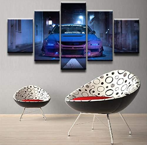 GHYTR 5 Pieza Cuadro sobre Lienzo 5 Paneles Cuadros En Lienzo Vehículo Blue Car Lancer Evolution Cuadro Lienzo 5 Piezas Lienzo Decorativo para Tu Salón O Dormitorio 5 Piezas 150X80Cm