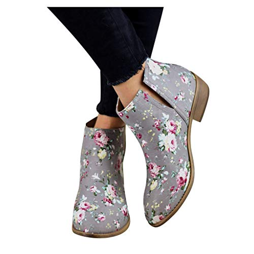 Great Deal! Women's Girls Floral Printed Thick Ankle Short Boots Casual Chunky Heel Bootie Slip-on R...