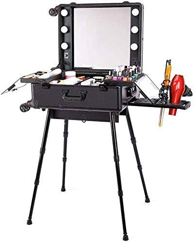 ALYR Profesional Maleta para Maquillajec, Organizador para Maquillaje Cosmetic Cases Maletín para Maquillaje con Ruedas de Maquillaje de Equipaje Makeup Train Cases,Black