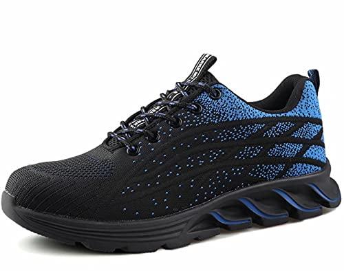 [ブルーポメロ] 安全靴 あんぜん靴 作業靴 メンズ レディース 軽量 通気性 鋼先芯JIS H級相当 KEVLARミッドソール 耐摩耗 クッション性 オシャレ 9017ブルー 25