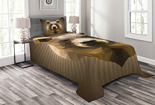 ABAKUHAUS Bär Tagesdecke Set, Geometrisches Grizzly-Porträt, Set mit Kissenbezügen Sommerdecke, für Einzelbetten 170 x 220 cm, Ingwer Kakao