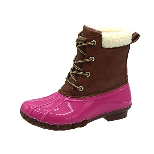 Jessica Carlyle Duck Girls Lace Up Two Tone Combat Style Rain Duck Boots Fuchsia