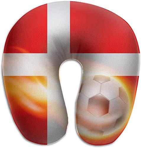 Memory Foam Neck Kussen Brandend Voetbal Op Denemarken Vlag U-Shape Reizen Kussen Ergonomisch Gecontroleerd Ontwerp Wasbare Cover voor Vliegtuig Trein Auto Bus Office