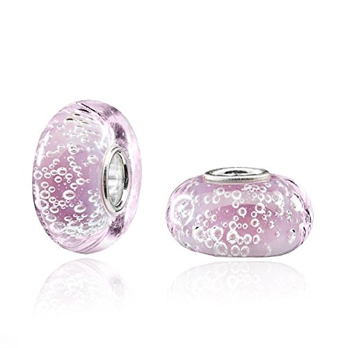 MATERIA Muranoglas Beads rosa Anhänger 'Bowle' Luftbläschen - Silber 925 Glasperle für Beads Armband/Kette #1078