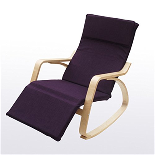 tabouret en bois Chaise berçante chaise longue Chaise de loisirs nordique chaise longue chaise à bascule balcon solide bois unique tissu chaise d'intérieur (Couleur : Deep purple)