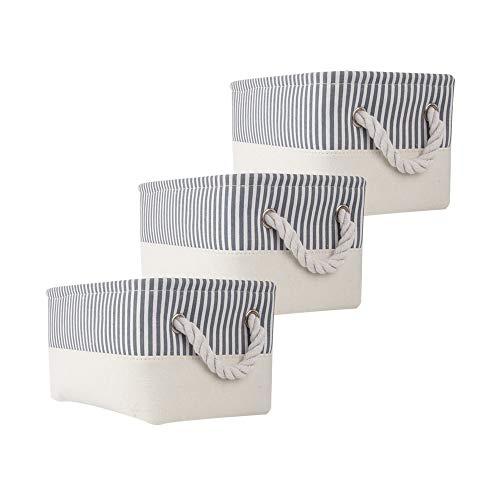 MANGATA Fabric Aufbewahrungsboxen, Open Storage Organizer für Bücher, Spielzeug, Kleinigkeiten 3er Pack (Grauer Streifen, Small)