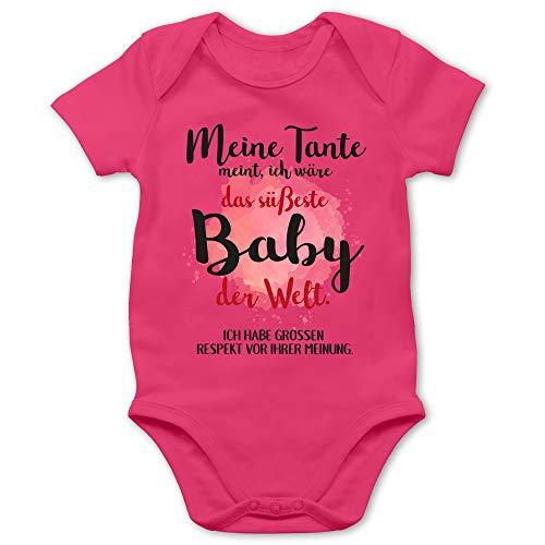 Shirtracer Strampler Motive - Meine Tante Meint, ich wäre das süßeste Baby der Welt. - 6/12 Monate - Fuchsia - Baby windeltorte Junge - BZ10 - Baby Body Kurzarm für Jungen und Mädchen