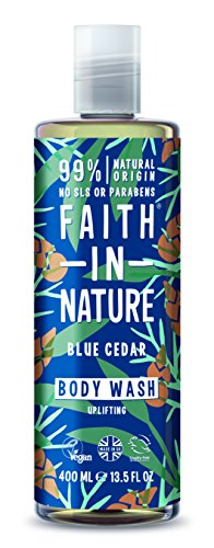 Faith In Nature Natural Blue Cedar Body Wash, Uplifting, Vegan & Cruelty Free, Paraben and SLS Free, For All Hair Type, 400ml, 79860, Pack Of 1