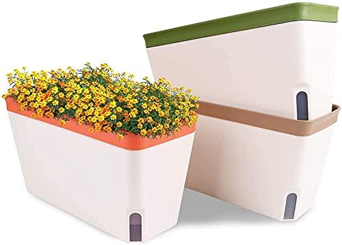 DZCGTP Self Watering Plant Pots, Set of 3 10.5 Inch Rectangular Windowsill Herb Planter Box, Modern Plastic Flower Pots for Indoor Outdoor