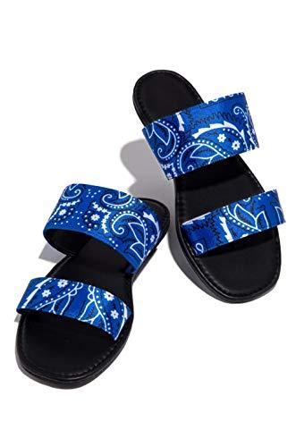 KHJH MujerVeranoZapatillasSandalias,Zapatillas Planas con Estampado Azul Baño Transpirable Zapatos De Punta Abierta Bohemia Beach Zapatos Antideslizantes para Dama Niña Al Aire Libre Antideslizan