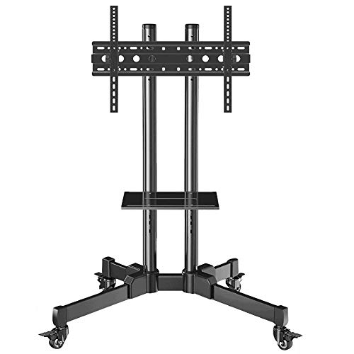 dehong Stainless Steel TV Floor Legs Stand for 32—70 Inches TVs,Black Tall TV Floor Cabinet on Wheels Castors Up to 90KG Tilting Height Adjustable,Max VESA 600x400mm
