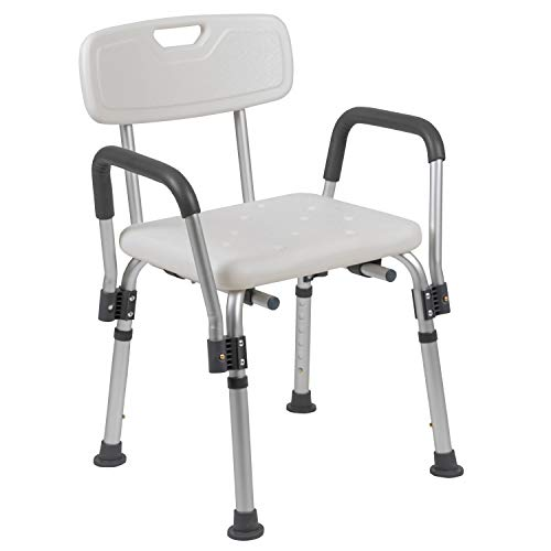Flash Furniture HERCULES Series 300 Lb. Capacity, Adjustable White Bath & Shower Chair with Depth Adjustable Back
