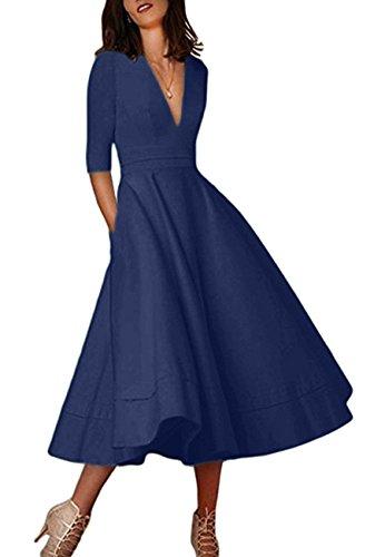 OMZIN Damen Abendkleid Wadenlanges Sommerkleid Tiefer Ausschnitt Cocktailkleid Übergröße Navy Blau XXL