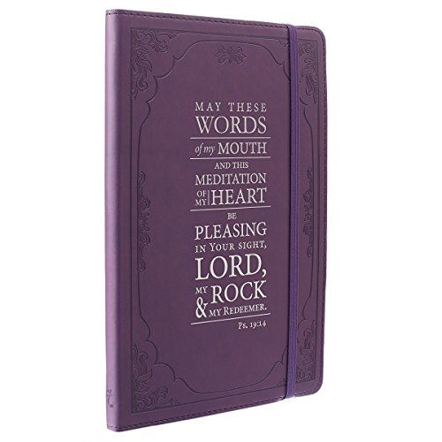 Christian Art Gifts Purple Faux Leather Journal | The Words Of My Mouth - Psalm 19:14 | Flexcover Inspirational Notebook w/Elastic Closure 160 Lined Pages w/Scripture, 5.8 x 8.5 Inches