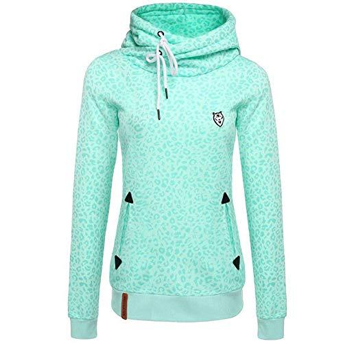 CHIYEEE Damen Lange Ärmel Hoodie Frauen Kapuzenpullover Pullover mit Kapuze Cross Over Kragen und Fleece Innenseite Grün XL