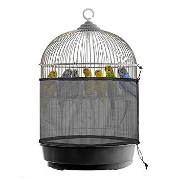 Nicoone Cage à Oiseaux Universelle Couverture de Protection des Graines pour Oiseaux Receveur Réglable Cordon de Serrage Jupe de Cage à Oiseaux Maille Couverture de Filet