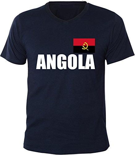 Mister Merchandise Herren V-Ausschnitt T-Shirt Angola Fahne Flag, V-Neck, Größe: M, Farbe: Navy