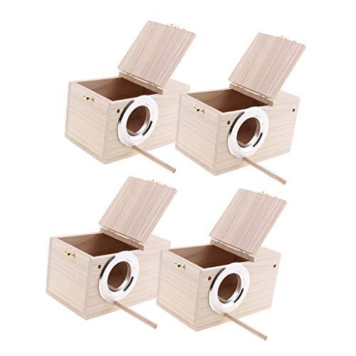 PETSOLA 4 Stücke Nistkasten Holz, Vogelhäuschen, Nisthöhle, Vogelhaus Bausatz Star aus Lärchenholz, Wetterfest für Meise/Rotkehlchen/Nymphensittich, Nisthilfe