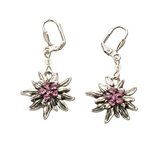 Alpenflüstern Trachten-Ohrhänger Strass-Edelweiß - Damen-Trachtenschmuck, Trachten-Ohrringe antik-silber-farben mit Strass-Steinen rosé-rosa DOR008