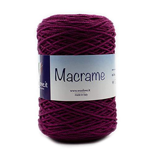 Gevlochten macramékoord, van biologisch katoen, om te haken, macramé enz. Wijn